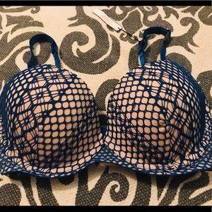 Victoria's Secrets Bra 32 DD Blue Nude Crochet
